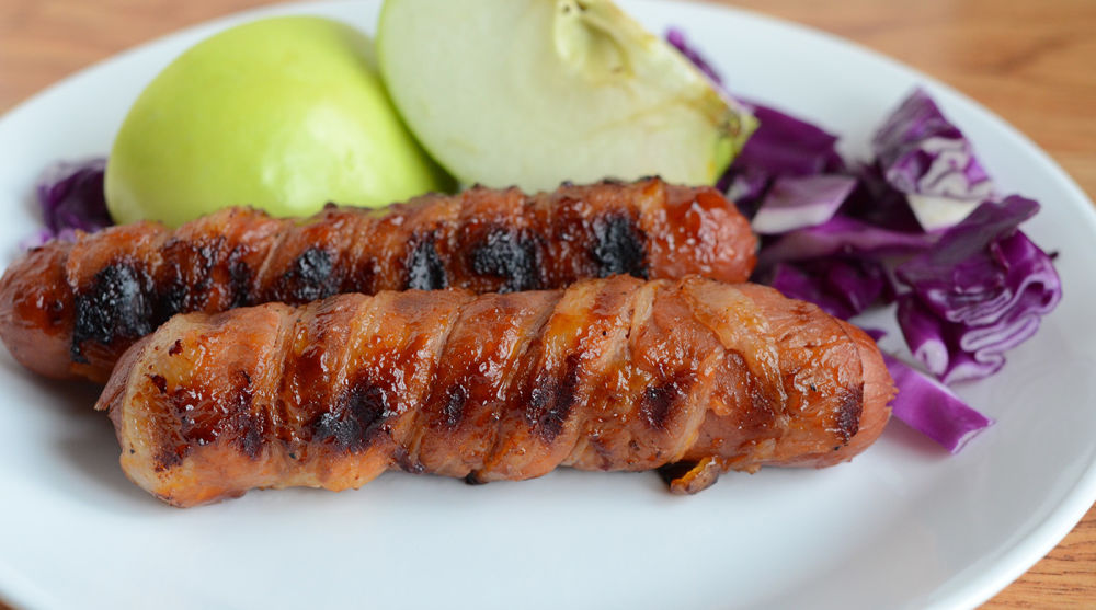 Gluten Free Dairy Free Bacon Wrapped Hot Dogs