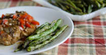 Roasted Garlic Herb Green Beans - Lunch Version