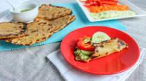 Zucchini and Basil Hummus on Naan