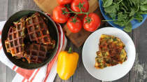 Mediterranean Frittata Waffle Wedges