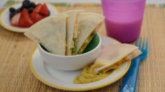 Kid Friendly Chicken and Broccoli Quesadilla - Lunch Version
