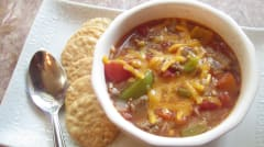Slow Cooker Stuffed Pepper Soup - OAMM - Lunch Version
