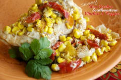 Skinny Slow Cooker Southwestern Chicken and Veggies - Dump and Go Dinner
