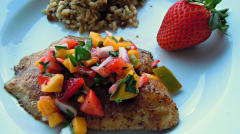 Instant Pot Tilapia with Mango Strawberry Salsa - Lunch