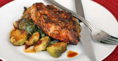 Simple Slow Cooker Pork Chops and Brussels Sprouts - Ready to Eat Dinner