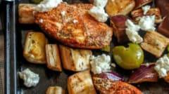 Sheet Pan Greek Chicken - Percolate Kitchen - Dump and Go Dinner