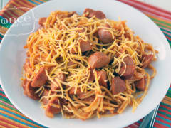 Gluten Free Dairy Free Chili Spaghetti with Hotdogs
