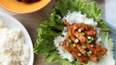 Spicy Korean Pork Wraps