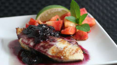Pork Tenderloin with Peach Salsa and Blueberry Syrup
