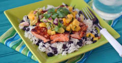 Instant Pot Caribbean Salmon and Rice with Tropical Salsa - Ready to Eat Dinner
