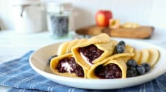 Grain Free Crepes with Apple Berry Compote