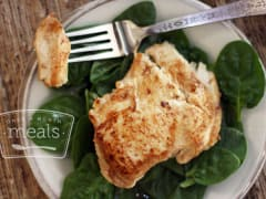 Paleo Ginger Chicken Breasts with Green Spinach - Lunch Version