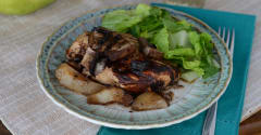 Slow Cooker Balsamic Chicken with Pears and Mushrooms - Dump and Go Dinner