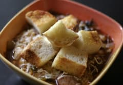 Pizza Soup with Croutons - Ready to Eat Dinner