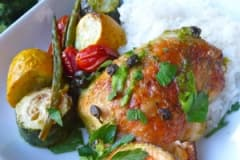 Gluten Free Dairy Free Lemon Chicken with Vegetables and Capers - Dump and Go Dinner