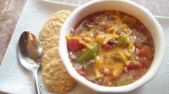 Slow Cooker Stuffed Pepper Soup - OAMM - Ready to Eat Dinner