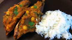 Indian Stuffed Sweet Potatoes - Lunch Version
