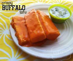 Crispy Buffalo Tofu with Blue Cheese Dip