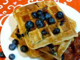 Gluten Free Dairy Free Blueberry Waffles