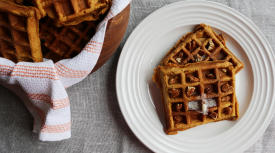 Whole Wheat Pumpkin Pecan Waffles
