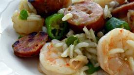 Lighter Cajun Jambalaya with Shrimp, Sausage and Okra