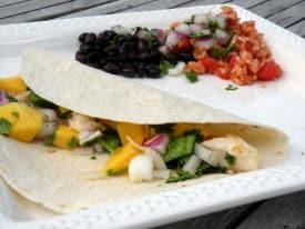 Halibut Fish Tacos with Mango Salsa