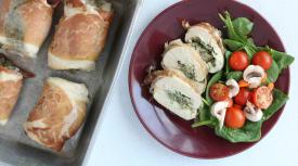 Whole 30 Prosciutto Wrapped Spinach and Artichoke Chicken Bundles