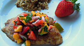 Instant Pot Tilapia with Mango Strawberry Salsa