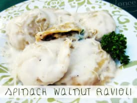 Spinach and Walnut Ravioli with Alfredo Sauce