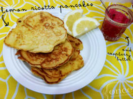 Lemon Ricotta Pancakes with Raspberry Butter