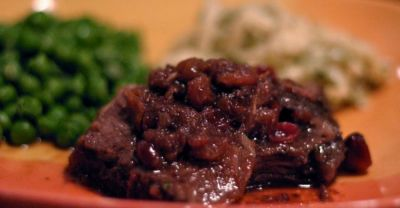 Slow Cooker Cranberry Beef Roast- Dinner Easy Assembly Version