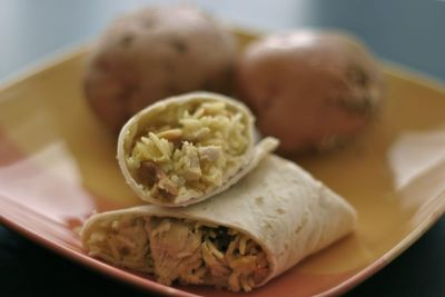 Chicken Curry Wraps with Cashews, Raisins and Pineapple