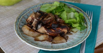 Instant Pot Balsamic Chicken with Pears & Mushrooms