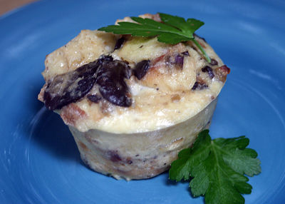 Fancy, Freezable Wild Mushroom Bread Pudding Cups