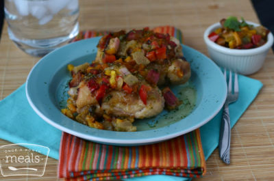 Chicken Thighs with Rhubarb Salsa