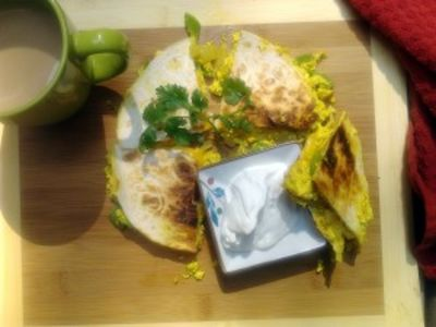 Curried Tofu Breakfast Quesadilla