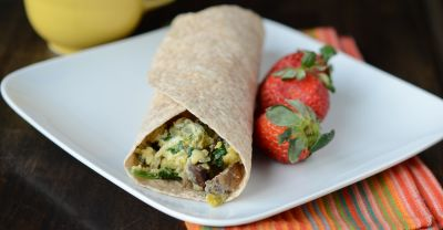 Spinach Mushroom Breakfast Wrap