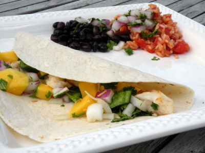 Halibut Fish Tacos with Mango Salsa