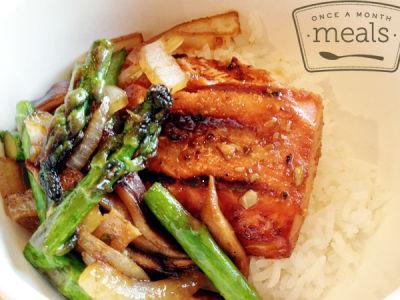 Grilled Salmon Teriyaki with Asparagus and Mushrooms