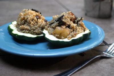 Blueberry-Balsamic Portabella Stuffed Squash