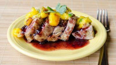 Pork Tenderloin with Mango Salsa and Blackberry Syrup