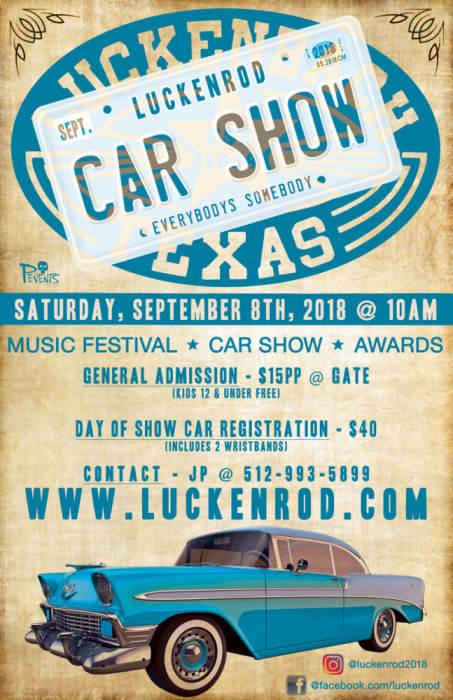 LuckenRod Classic Car Rod Show Classic Cars Music Luckenbach - Unique car show awards