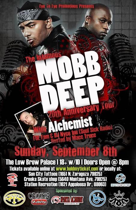 Mobb deep 20th anniversary tour w alchemist live in for Sun city motors el paso tx