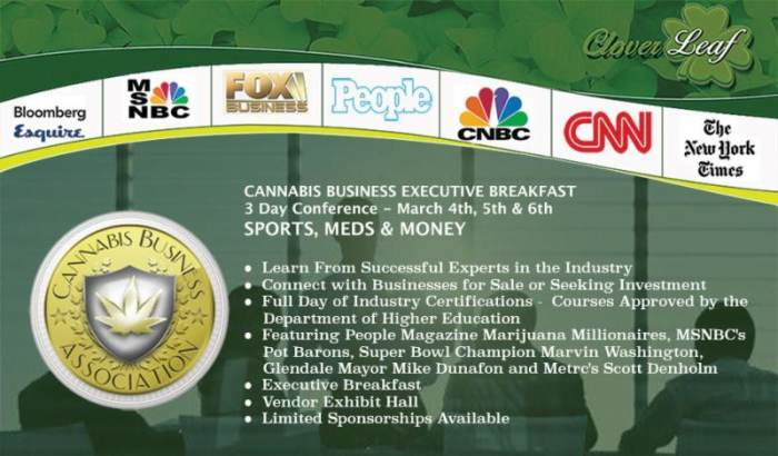 Cannabis Business Executive Breakfast: Sports, Meds & Money Note
