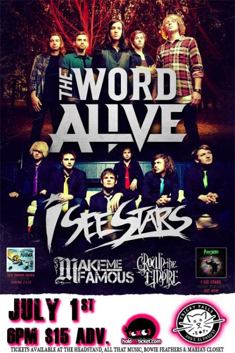 The Word Alive * I See Stars Make me Famous @ Tricky Falls El Paso, TX -  July 1st 2012 5:30 pm