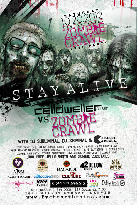 Zombie crawl offical afterparty zombie crawl vs for 3 little birds salon denver