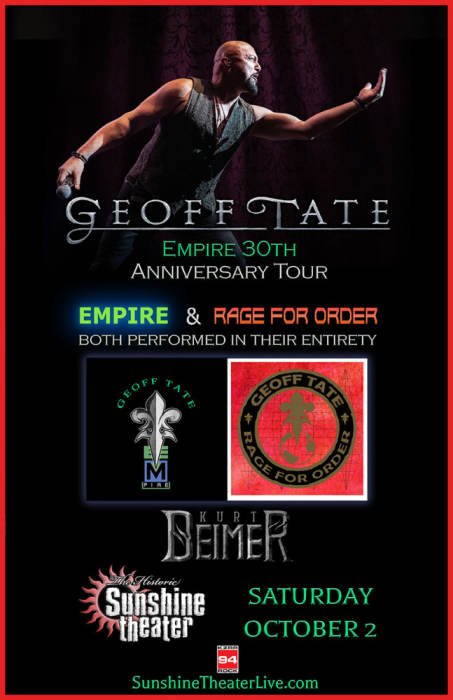 Geoff Tate 30th Anniversary of Empire and Rage For Order