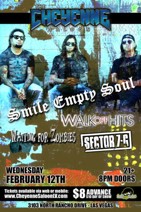 SMILE EMPTY SOUL, Walk Off Hits, Waiting For Zombies, Sector @ The  Adrenaline Sports Bar & Grill Las Vegas, NV - February 12th 2014 8:30 pm