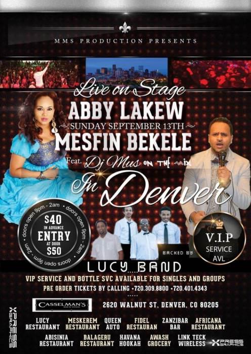 Abby Lakew & Mesfin Bekele Ethiopian New Year Event @ Casselman's Denver,  CO - September 13th 2015 9:00 pm