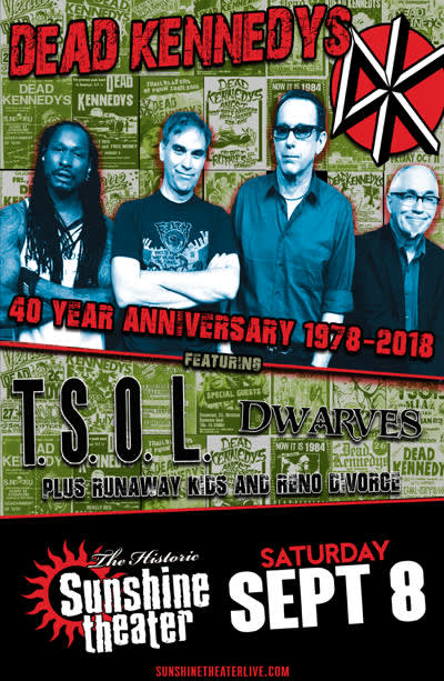Dead Kennedys 40th Anniversary Tour * TSOL * Dwarves
